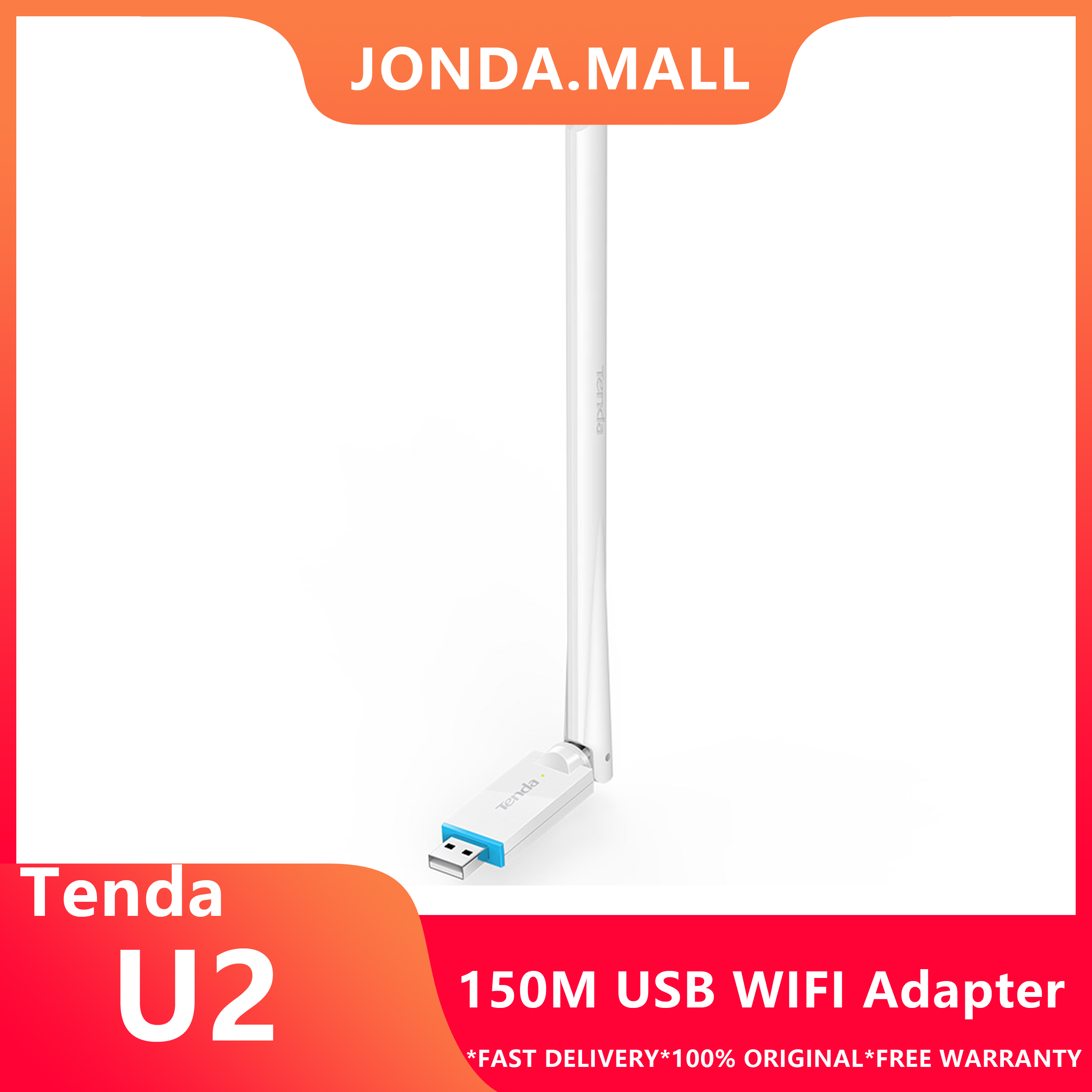 Tenda U2 Adapter N150 High Gain Wireless USB Adapte USB Network Card 150Mbps,Plug-and-Play, 6dBi External Antenna