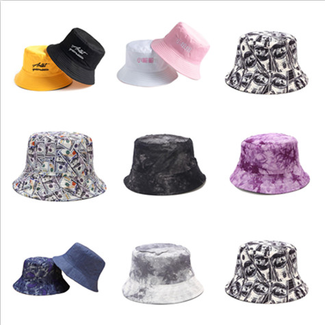 Women Bucket Hats Hip Hop Solid Letter Embroidered Double-sided Wear Fisherman Hat Korean Style Breathable All-match Women Chic
