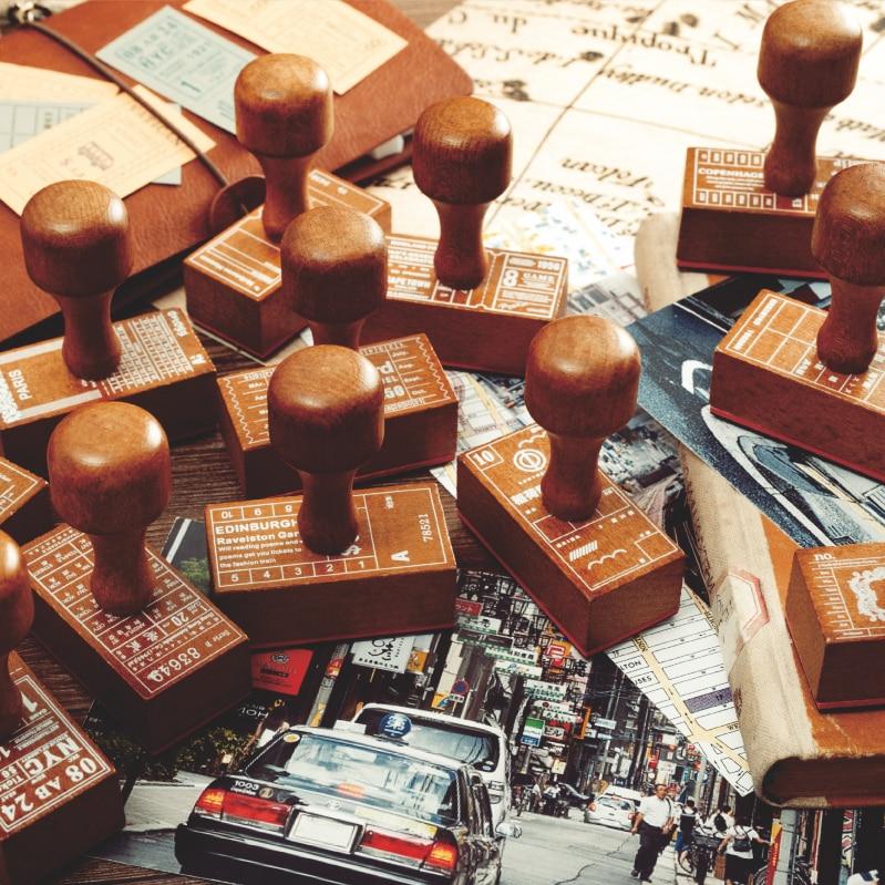 Vintage Travel Tickets Label Stamp Wooden Handle Planner Wood Rubber Stamp For Diy Scrapbooking Cards Decoration Embossing Craft