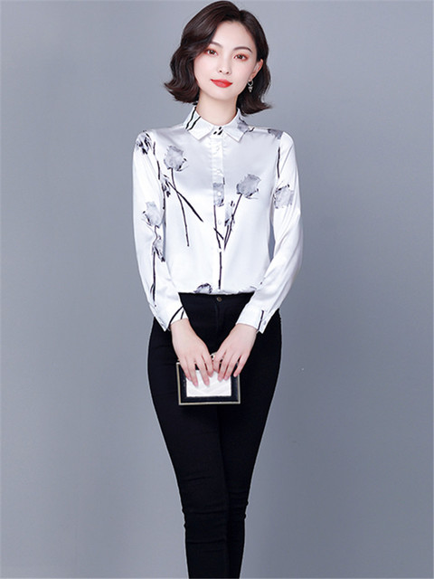 Chikichi 2021 New Spring Ladies Shirt Floral Long-sleeved Fashion Loose Oversized Satin Top Women Blouses Plus Size 4XL 6