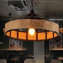 Vintage Hemp Rope Chandelier Retro Industrial Lamp Base Loft Iron Bedroom Dining Room Cafe Bar Light Retaurant Lamps