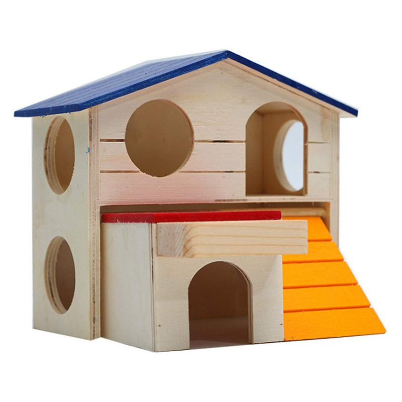 Practical Pet Small Animal Hideout Hamster House Deluxe Two Layers Wooden Hut Play Toys Chews