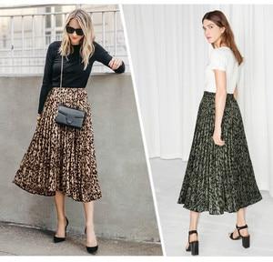 Image 5 - Họa Tiết Da Báo Váy Nữ 2020 Mùa Xuân Mới Thu Lưng Thun Một Đường Xếp Ly Midi Váy Dạo Phố