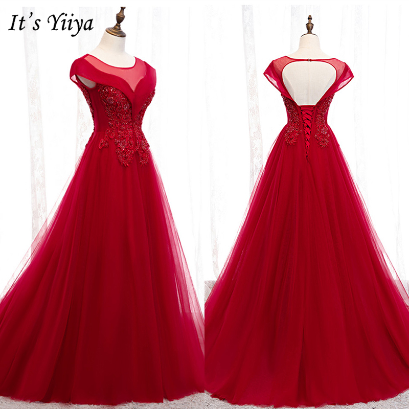 It's Yiiya Evening Dress 2019 Elegant Appliques Embroidery Formal Gown Short Sleeve O-Neck Train Robe De Soiree Plus Size E979