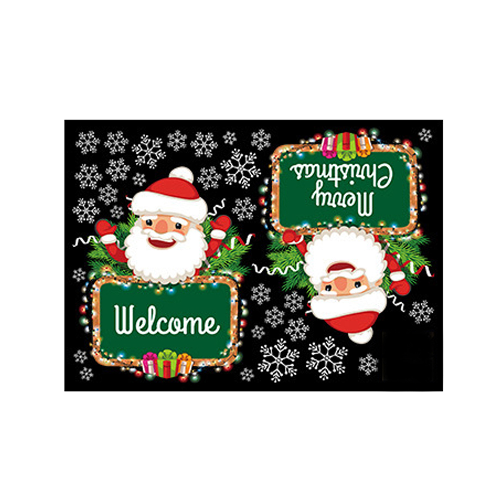 PVC Self Sticky Window Decals Home Decor Christmas Door Sticker New Year Winter Waterproof DIY Wall Removable Kids Room Funny
