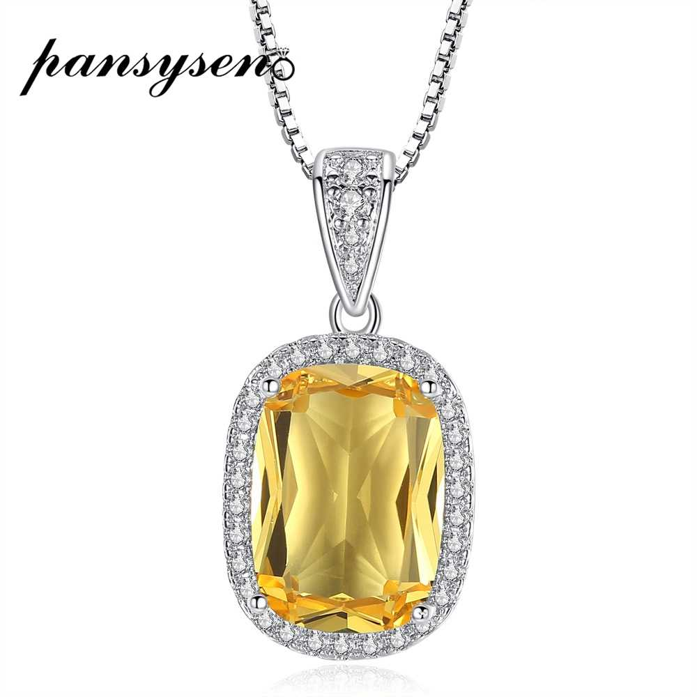 PANSYSEN  925 Sterling Silver Necklace for Women Natural Yellow Citrine Wedding Engagement Pendant Necklaces Fine Jewelry Gifts