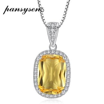 PANSYSEN 925 collier en argent Sterling pour les femmes jaune Citrine mariage pendentif de fian ailles