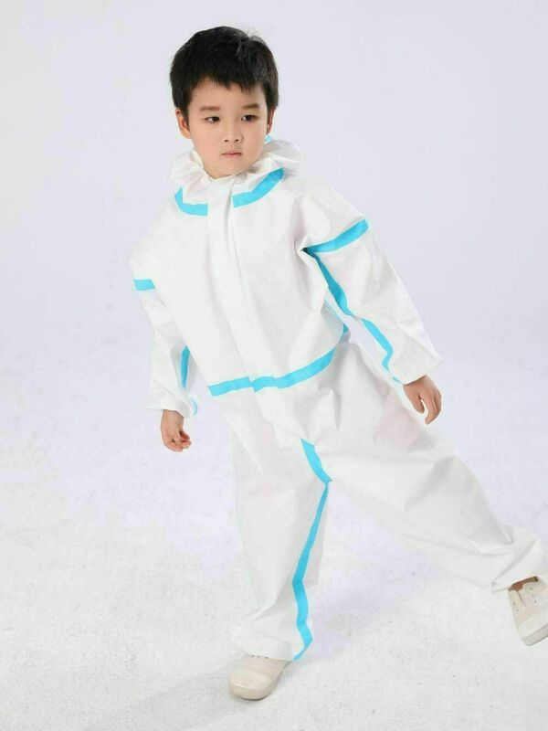 Children Kids Protective Clothing Dust-proof Anti-Virus Protection Clothing Safety Coverall Disposable Suit White Coveralls