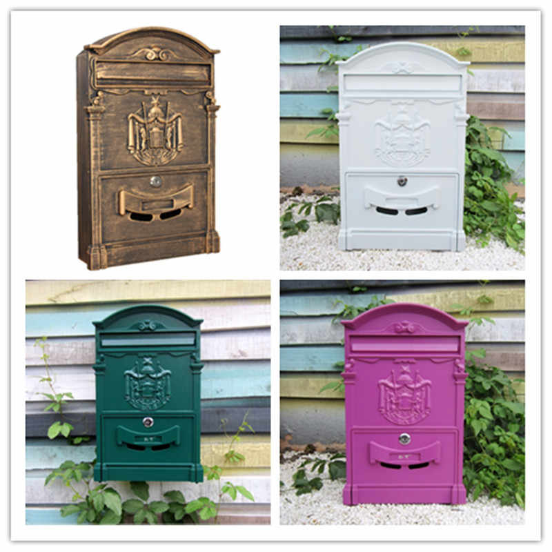 Cast Iron Mailbox White Outdoor Mailbox Country House Style Box Metal Letter Box