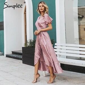 Image 3 - Simplee 레이스 업 레오파드 프린트 섹시한 긴 드레스 여름 v 넥 짧은 소매 도트 플러스 사이즈 드레스 여성 우아한 분할 패션 드레스