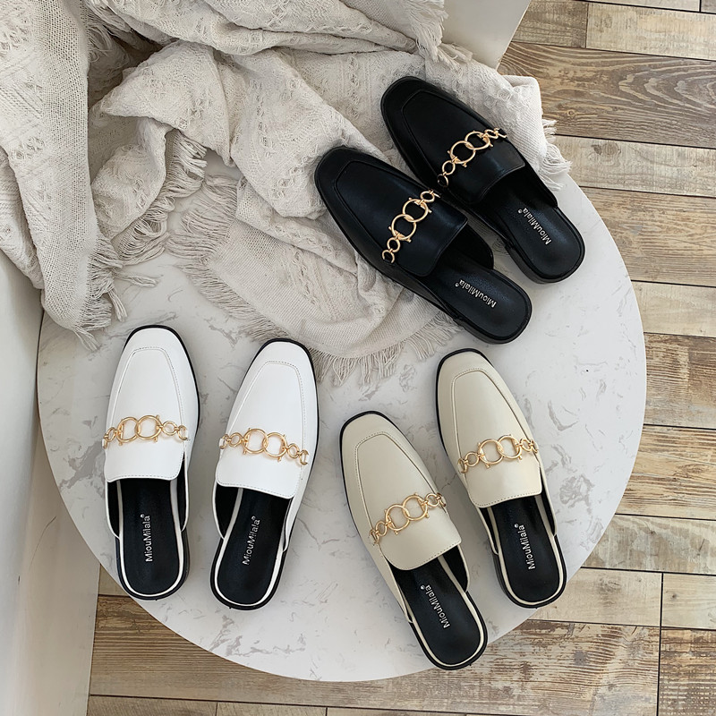 Women's Slippers Outside Summer 2020 Pearl Metal Chain Mules Shoes Zapatos De Mujer Ladies Slippers Outdoor Slippers