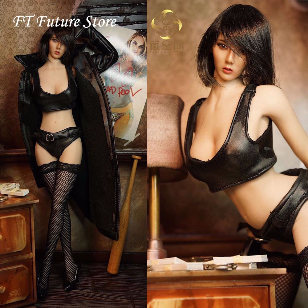In Stock 1/6 Sexy Female Figure Accessory Faux Leather Long Jacket Leather Shorts Underwear Model for 12 inches Action Figure image