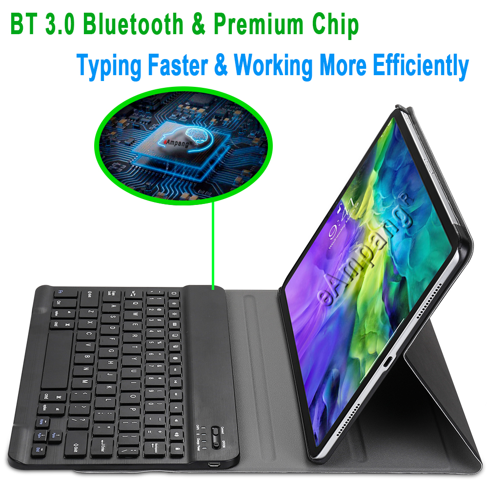 For iPad Pro 11 2020 Keyboard Case for Apple iPad Pro 11 2nd Generation Cover English Spanish Russian Bluetooth Keyboard Case
