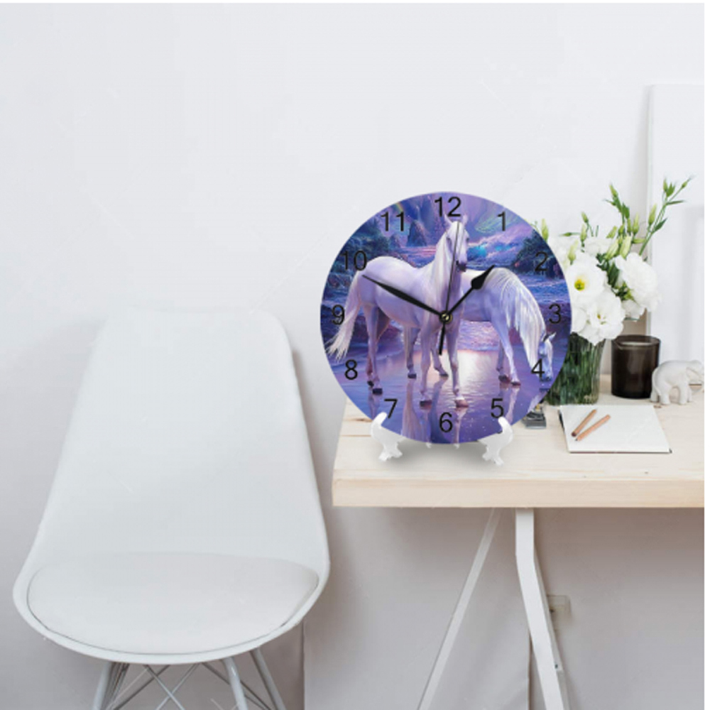 10inch Wall Clocks Decorative Numeral Digital Dial Mute Horses Aniaml  No Ticking Sound Battery Operated Clocks For Kitchen