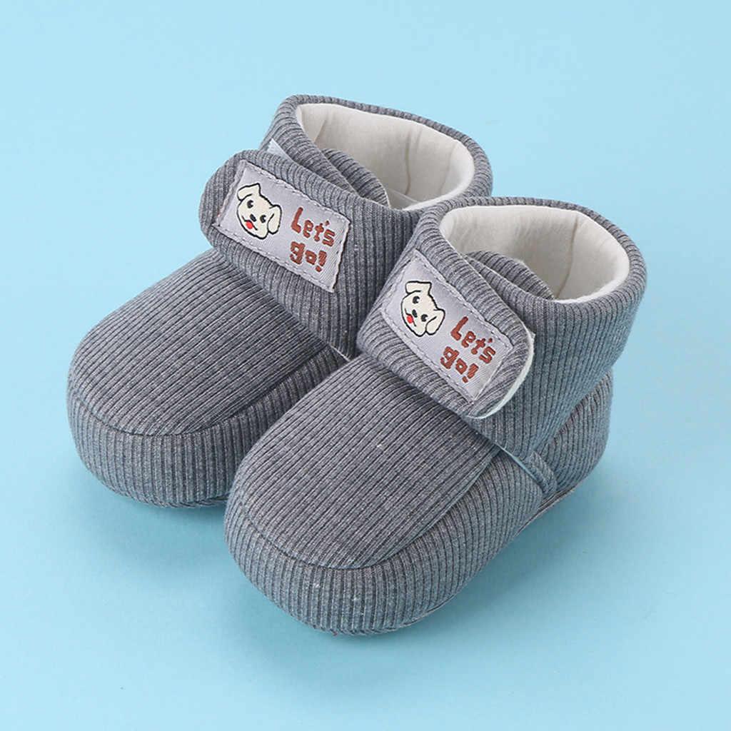 Newborn Baby Boys Girls Anti-Slip Boots Toddler Warm Slippers Soft Crib Shoes UK