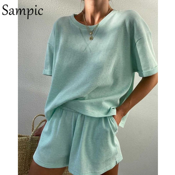 Sampic Summer Tracksuit Women Lounge Wear Shorts Set Short Sleeve Shirt Tops And Loose Mini Shorts Suit Two Piece Set 8