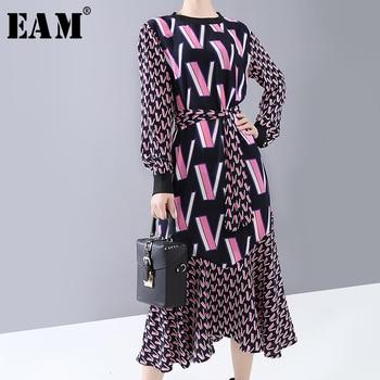 [EAM] Women Pattern Print Split Temperament Dress New Round Neck Long Sleeve Loose Fit Fashion Tide Spring Autumn 2020 1N250