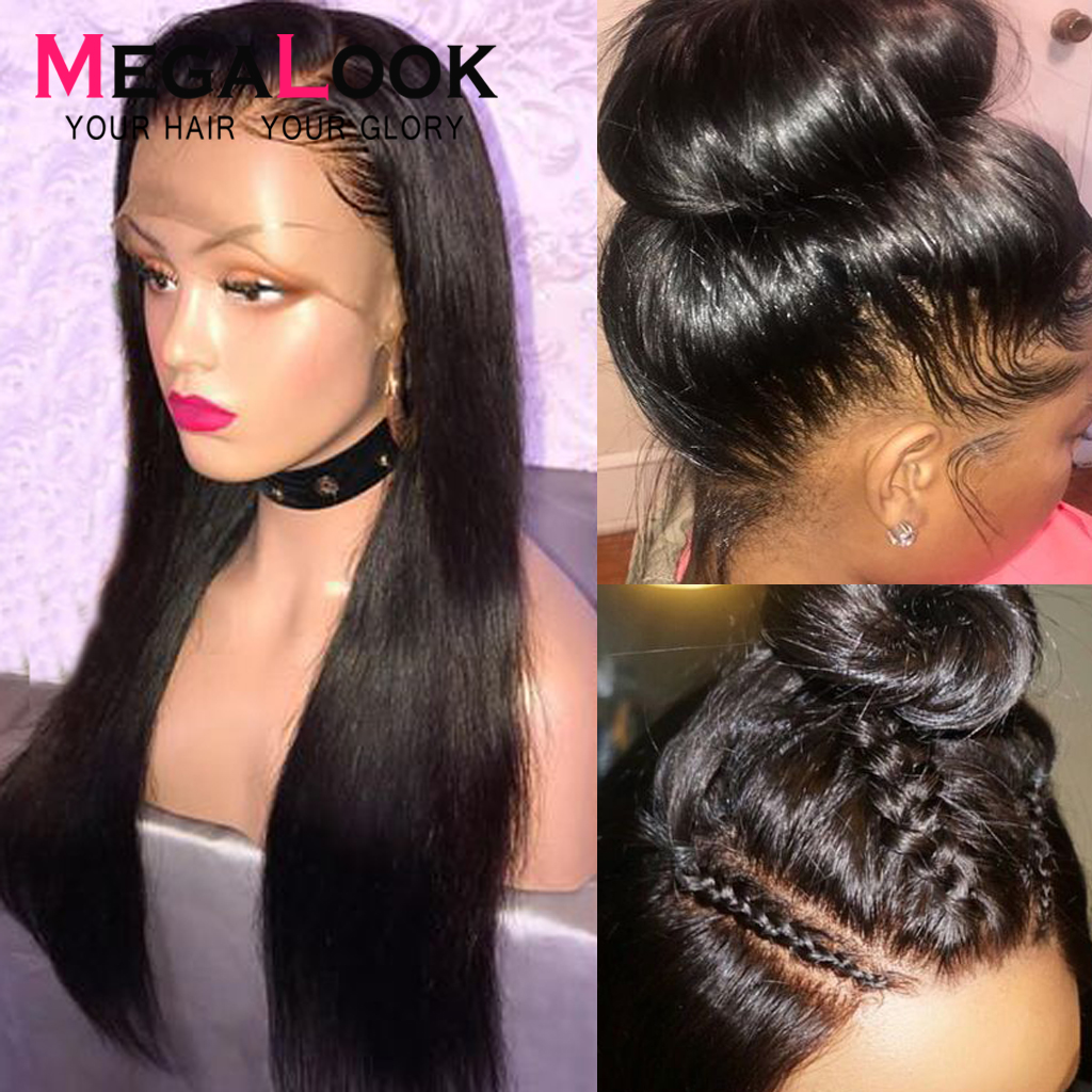 Full Lace Human Hair Wigs 180% Density Brazilian Straight Human Hair Wigs 30 Inch Full Lace Wig Pre Plucked With Baby Hair Remy