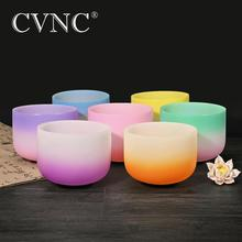 "CVNC 6"" 12"" Chakra Note Set of 7pcs CDEFGAB New Colored Frosted Quartz Crystal Singing Bowl"