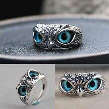 Novo anel de coruja criativa punk demônio olho animal ajustável aberto anéis para mulheres dos homens do vintage casal anel moda jóias melhor presente