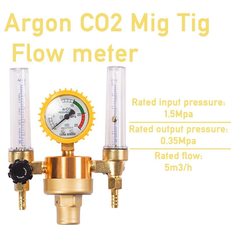 Argon Flowmeter Aquarium Regulator Flow CO2 Gas Tig Control Bubble Double Welding Meter Tube Counter Pressure Reducer Mig Valve