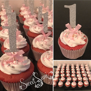 Image 2 - First Birthday Girl Party 10pcs Gold Pink Paper 1 Cupcake Toppers 1st Birthday Decorations Baby Boy Kids Table Supplies