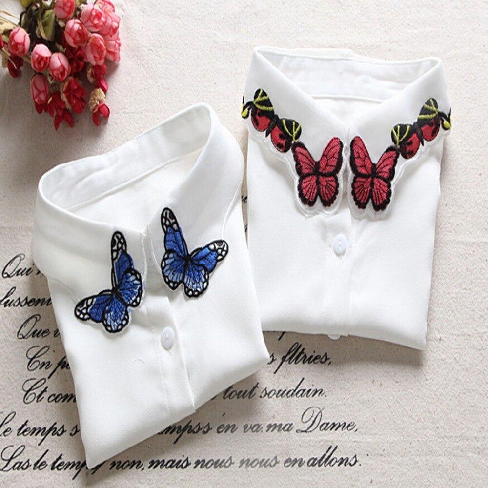Hot Sale Women Pure Color Lace Detachable Lapel Choker Necklace Shirt Embroidered Blue Butterfly Fake False Collar Valse Kraag