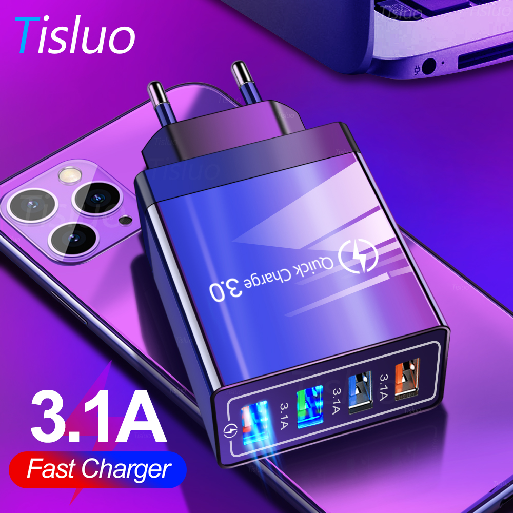 USB Charger Quick Charge 3.0 4 Port Fast Charging Wall Adapter For Xiaomi Samsung Huawei IPhone X 7 EU Plug Mobile Phone Charger