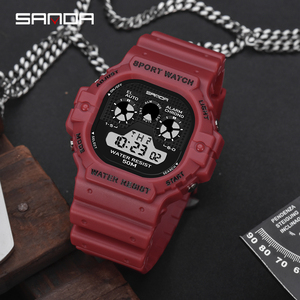 Image 3 - SANDA חדש רב תכליתי ספורט שעון גברים של שעון תלמיד עסקי LED הדיגיטלי עמיד למים כיכר אלקטרוני שעון Montre homme