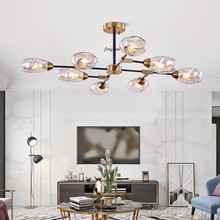 Modern Luxury LED Branch Glass Molecule Chandelier Nordic Cafe Living Room Restaurant Lamp Loft Bedroom Bar Decor Light Fixtures