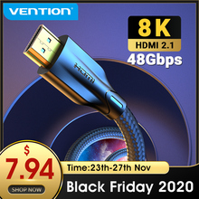 Vention HDMI כבל HDMI 2.1 כבל 8K @ 60Hz 4K @ 120Hz מהירות גבוהה במיוחד 48 5gbps עבור PS4 Mi טלוויזיה תיבת ספליטר הדיגיטלי HDR HDMI 2.1 כבל
