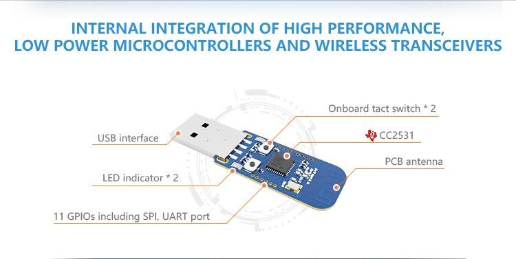 Hc5127458788743408f44dd9e0412bfecD - Zigbee CC2531 Case 4dBm Wireless Transceiver  E18-2G4U04B USB Connector IO Port IoT PCB 2.4GHz Transmitter and Receiver