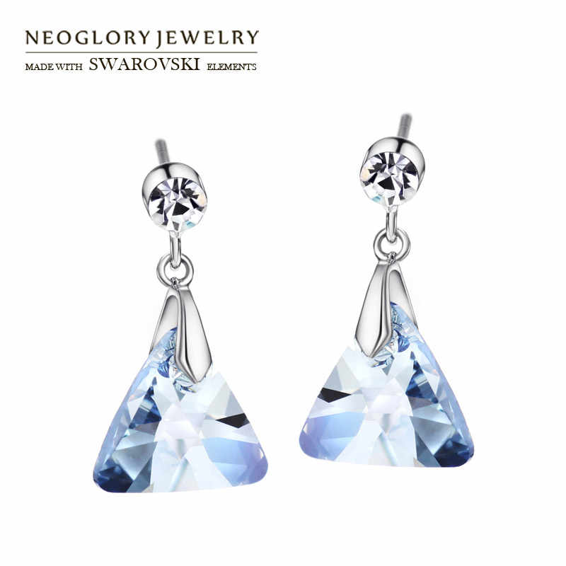 Neoglory Austria Crystal & Czech Rhinestone Long Drop Earrings Geomeric Triangle Style Party Elegant Trendy Lady Girl Daily Sale