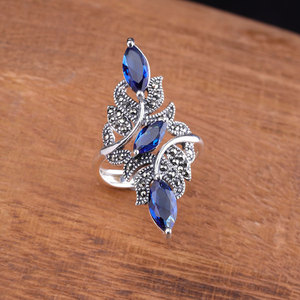 Image 2 - Classic Fashion Wedding Ring Exquisite Blue Zircon Female Ring 2020 Fashion New Wedding Jewelry New Year Gift