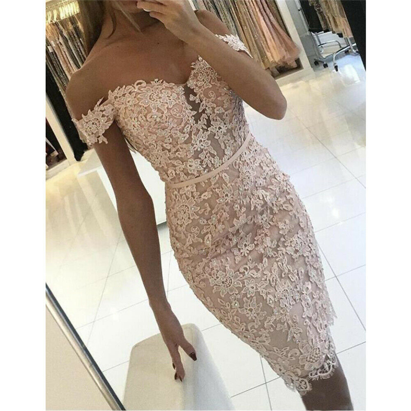 2019 Fashion Womens Lace Floral Mini Dresses Ladies Off Shoulder Strapless Bandage Bodycon Evening Party Short Sundress