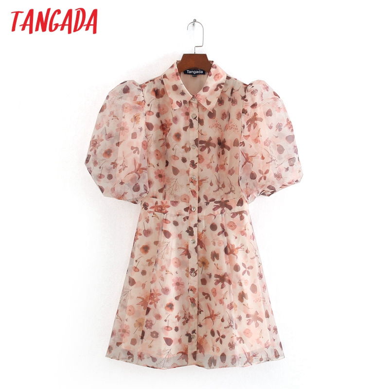 Tangada Women Floral Print Tunic Dress Turn Down Collar Puff Short Sleeve 2020 Summer Females Mini Dresses Vestidos CE314