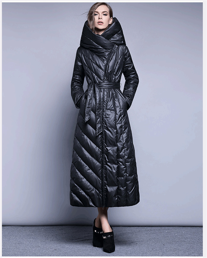Womens Quality High White Duck Down Jacket Fashion Winter Coat Padded Women Long Parkas Warm Ladies Coats Casacos WXF327 S