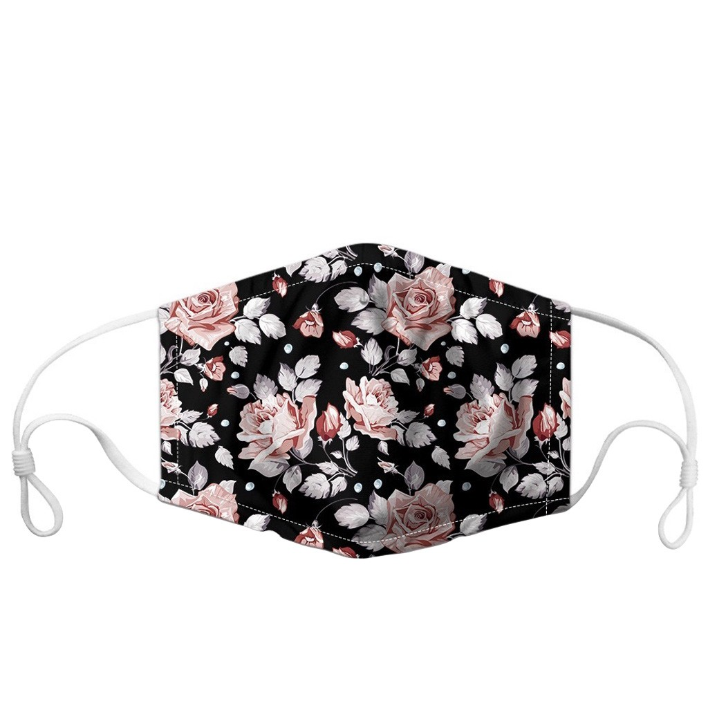 Unisex Mouth Mask PM2.5 Foggy Smog Protective Mascarilla Outdoor Breathable Face Mask Floral Printed Washable Cotton Mask Masque