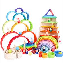 Montessori Toys Building Rainbow Wooden Toys Montessori Educational Wooden Toys Stacking Educational Toys For Children Kids Toys cheap CN(Origin) Montessori Toys Educatinal Toys above 3 years old