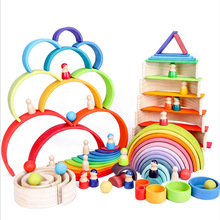 Montessori Toys Building Rainbow Wooden Toys Montessori Educational Wooden Toys Stacking Educational Toys For Children Kids Toys