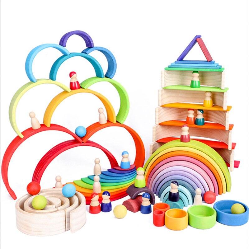 Quente 2020 criativo de madeira arco-íris blocos crianças brinquedos empilhador de madeira brinquedos para crianças blocos de construção montessori brinquedos educativos do bebê
