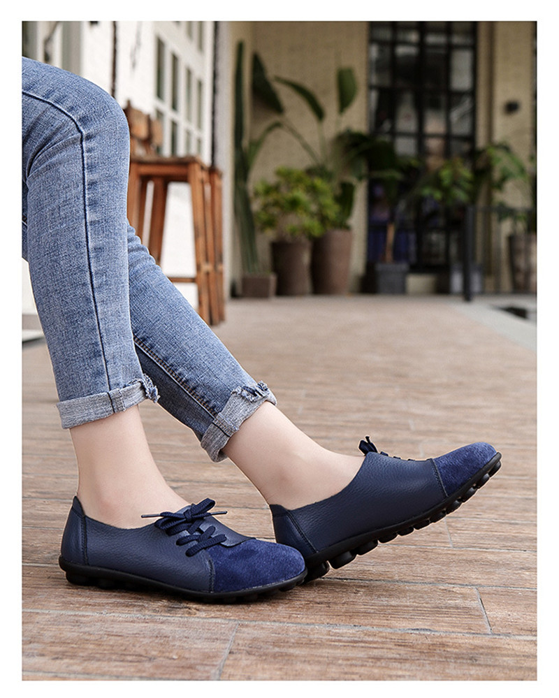 2019 New Leather Women Plus Size Sewing Flats Moccasins Loafers Ballet Flats Women Comfortable Soft Casual Shoes Ladies VT634 (17)