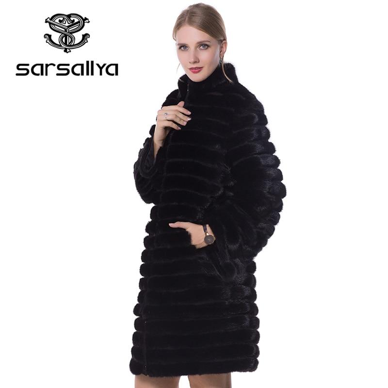 SARSALLYA 2016 nuevos abrigos de visón para mujer abrigo de piel auténtica abrigos de piel Natural chaquetas de invierno para mujer abrigo de piel de zorro chaleco de piel