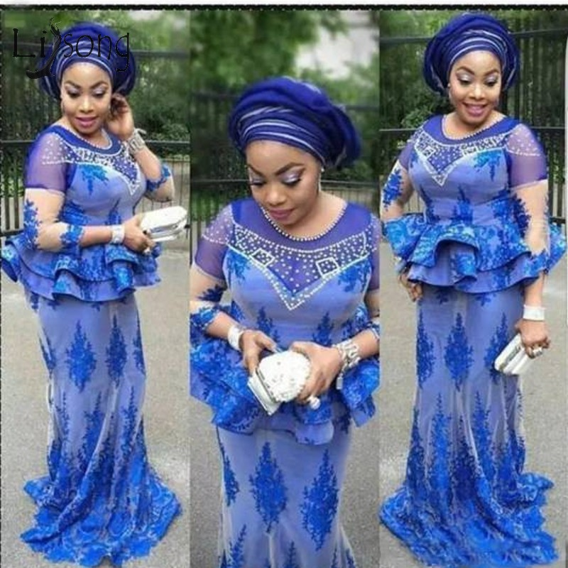 Sexy Royal Blue African Lace Mermaid Prom Dresses Beaded Crystal Long Prom Gowns Three Quarter Sleeves Aso Ebi