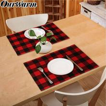 OurWarm 2pcs Double-Sided Waterproof Buffalo Plaid Burlap Placemats for Dining Table Christmas Place Mats