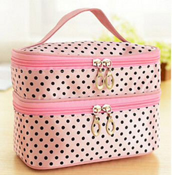 Cosmetic Organizers Women Multifunctional Double Desk Polka Dot Cosmetic Bag  Pouch Toiletry Zip Organizer Travel