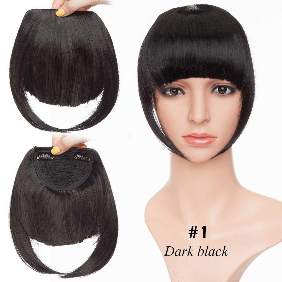 SNOILITE короткие передние тупые челки Клип короткая челка волосы для наращивания прямые синтетические настоящие натуральные накладные волосы - Цвет: dark black