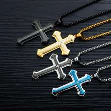 Men Titanium Steel Cross Biblical texts Pendant Necklace so238