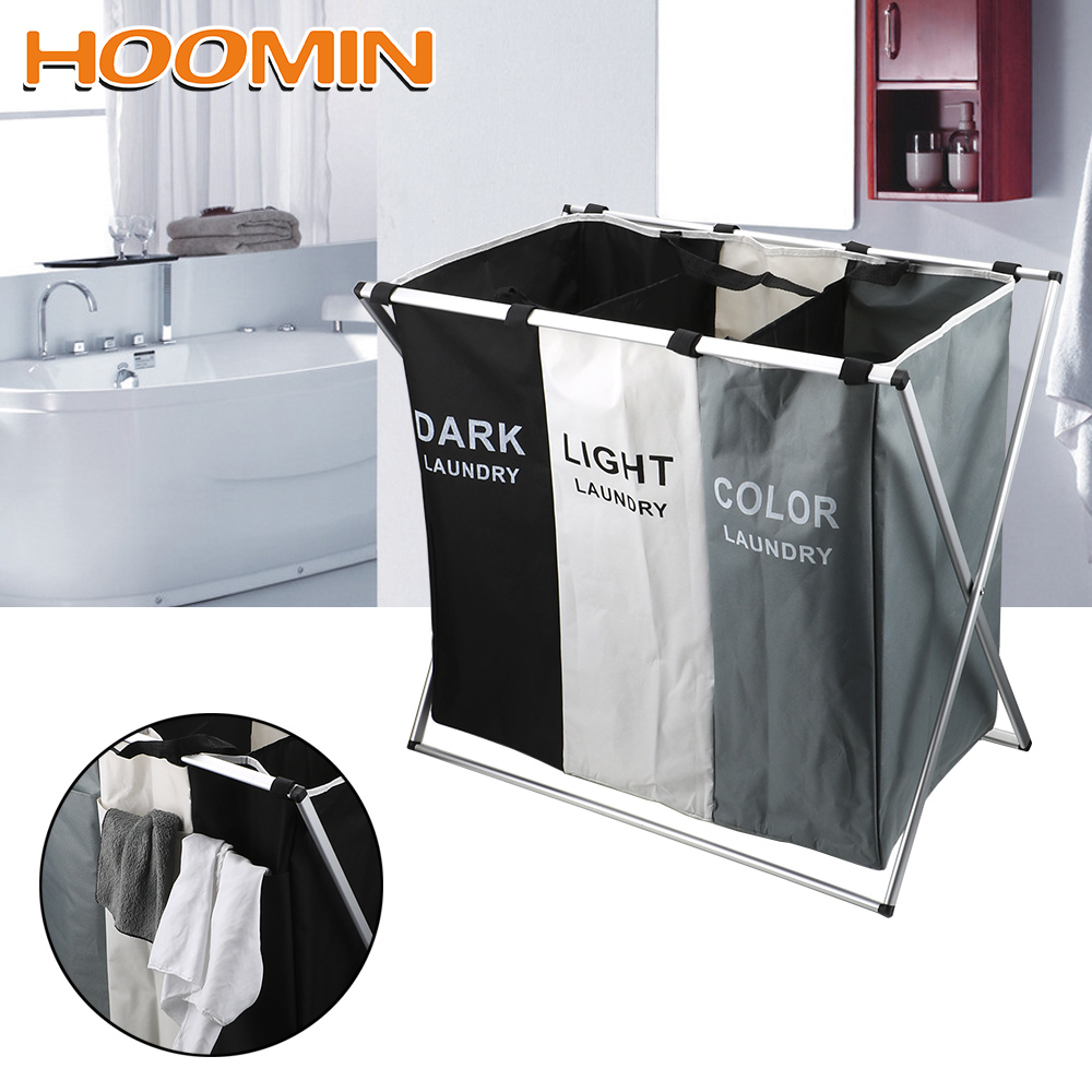 HOOMIN Dirty Laundry Basket Organizer Sorter Laundry Basket Home Hamper X Shape Foldable Large Collapsible Two/Three Grid|Laundry Bags| |  -