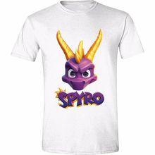 T-Shirt Spyro-Gesicht Logo Weiß (T-Shirt Unisex Tg. 2XL)